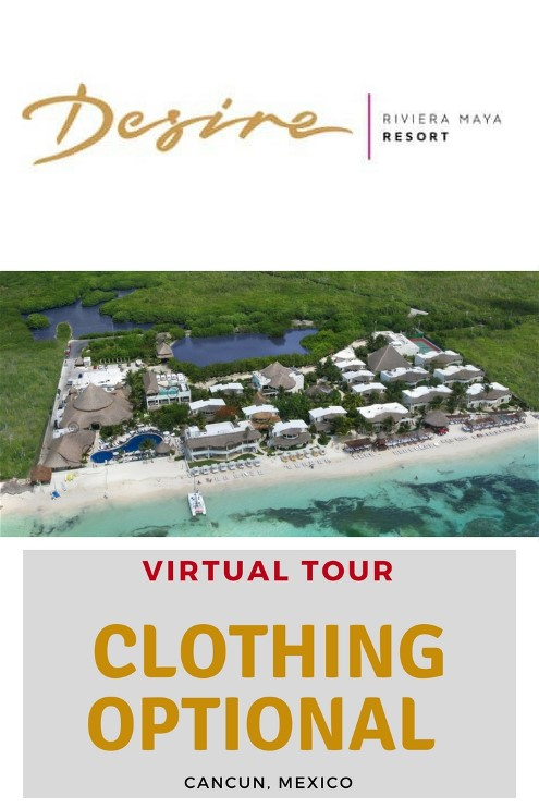 Desire Riviera Maya Resort is about 12 miles south of the Cancun, Mexico International Airport.It is a five star clothing optional adults only nude resort. The resort is also just five miles south of Puerto Morales, Mexico. Puerto Morales is a small fishing village.